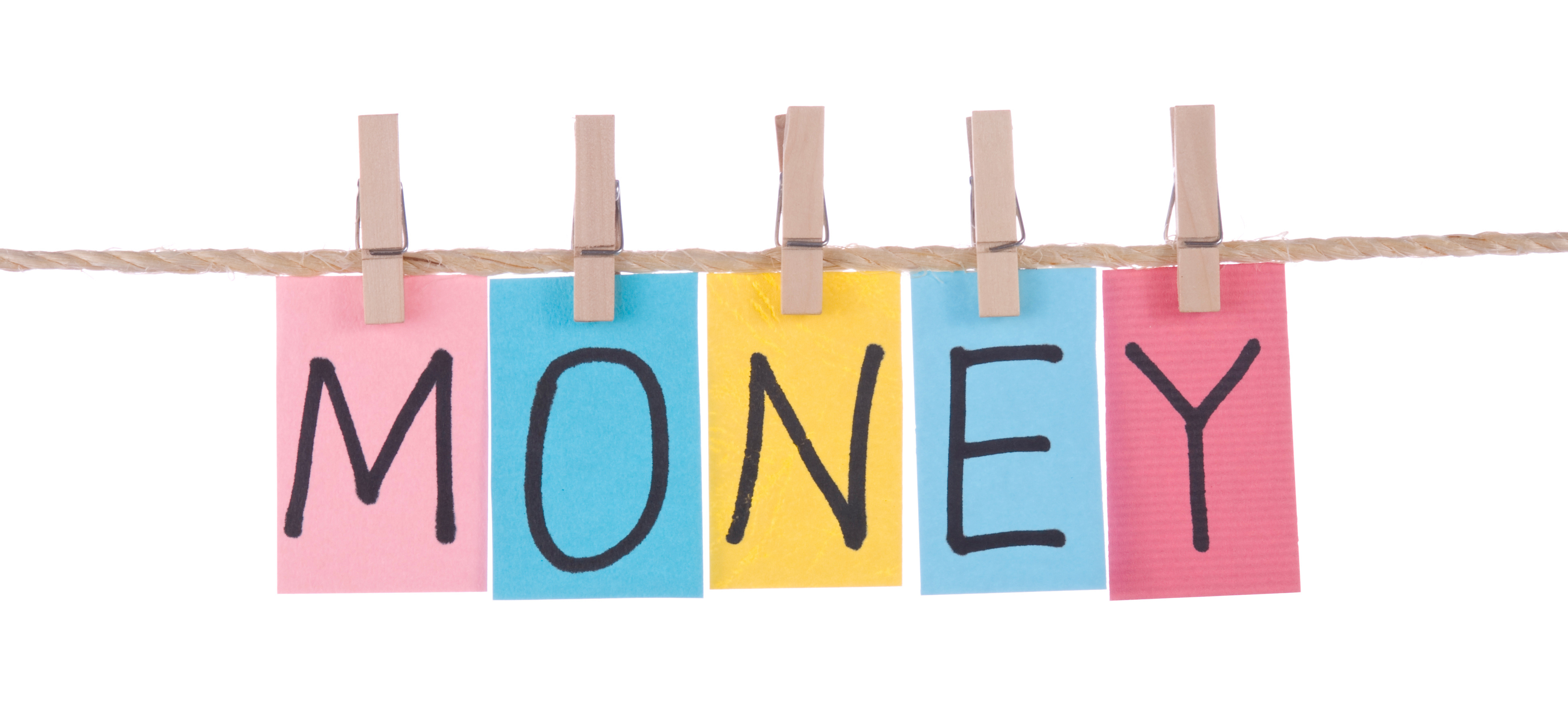 Money, Colorful words hang on rope by wooden peg