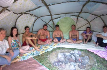 Inside a sweat lodge
