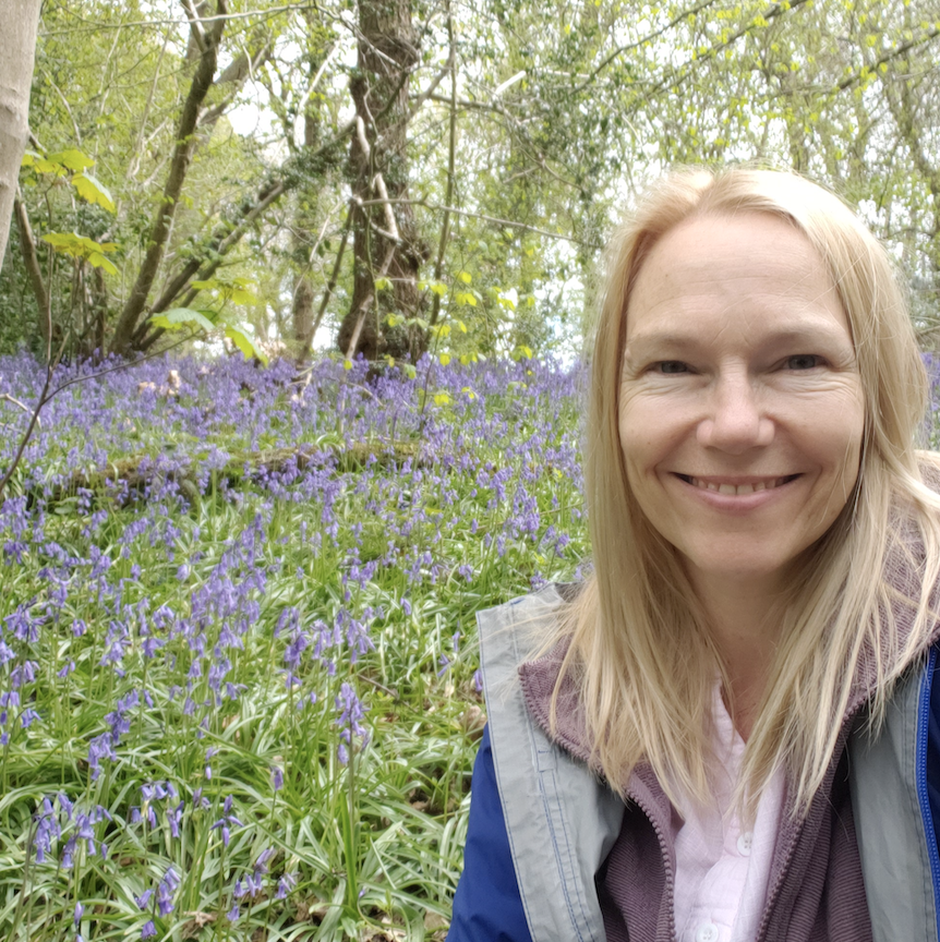 Cathy in the bluebells